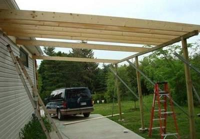 Тент, металлическая конструкция, деревянный навес для автомобиля, фото 7